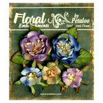 Petaloo - Canterbury Collection - Floral Embellishments - Naturals - Blue and Amethyst