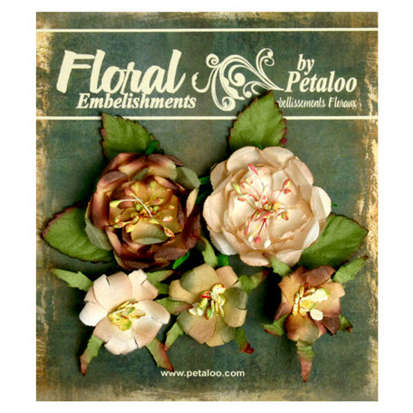 Petaloo - Canterbury Collection - Floral Embellishments - Naturals - Beige and Brown