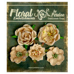 Petaloo - Canterbury Collection - Floral Embellishments - Glittered Fleur - Vanilla and Beige