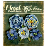 Petaloo - Canterbury Collection - Floral Embellishments - Glittered Fleur - Blues