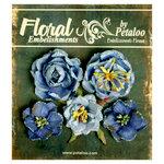 Petaloo - Canterbury Collection - Floral Embellishments - Glittered Fleur - Blues