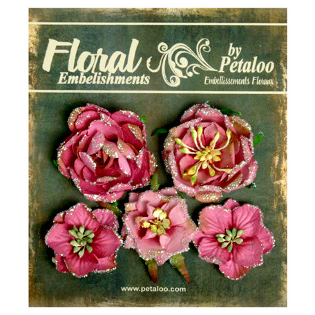 Petaloo - Canterbury Collection - Floral Embellishments - Glittered Fleur - Roses