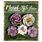 Petaloo - Canterbury Collection - Floral Embellishments - Glittered Fleur - Amethysts