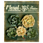 Petaloo - Canterbury Collection - Floral Embellishments - Glittered Fleur - Greens