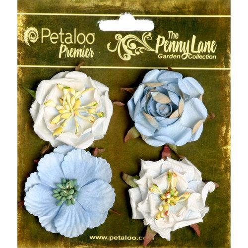 Petaloo - Penny Lane Collection - Floral Embellishments - Ruffled Roses - Slate Blue