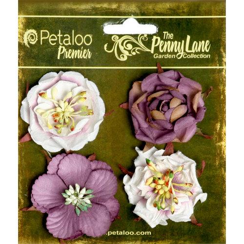 Petaloo - Penny Lane Collection - Floral Embellishments - Ruffled Roses - Plum