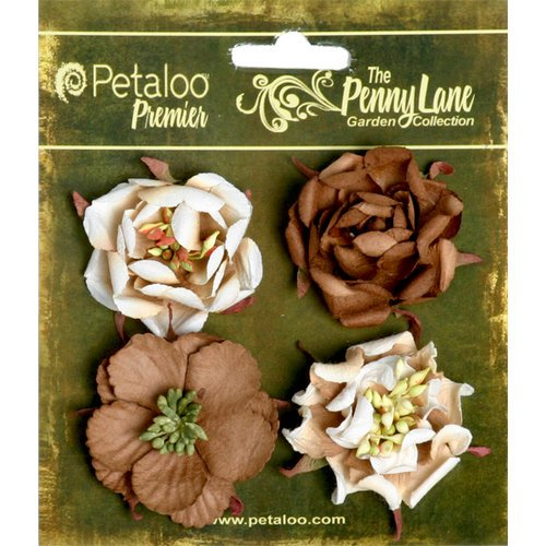 Petaloo - Penny Lane Collection - Floral Embellishments - Ruffled Roses - Brownie