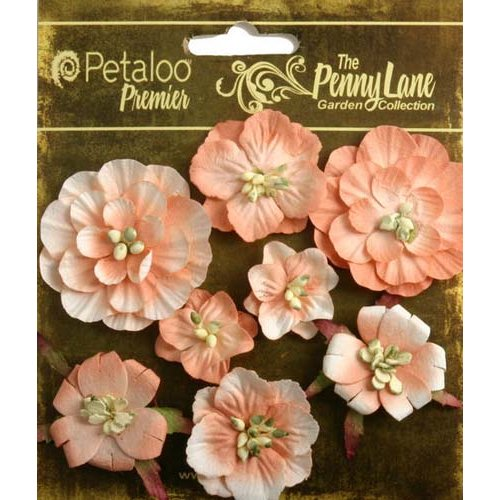 Petaloo - Penny Lane Collection - Floral Embellishments - Mixed Blossoms - Antique Peach