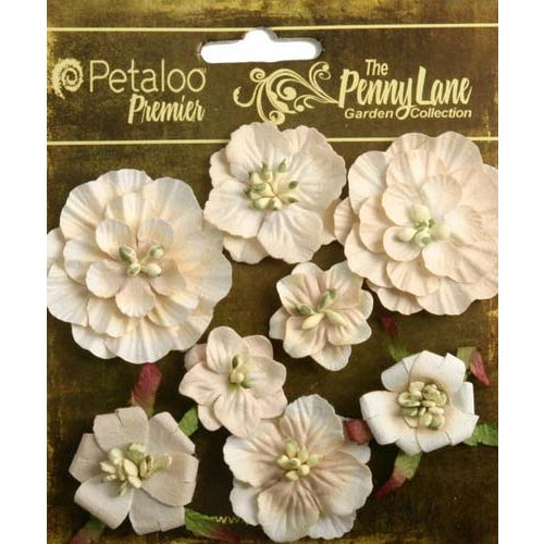Petaloo - Penny Lane Collection - Floral Embellishments - Mixed Blossoms - Antique Beige