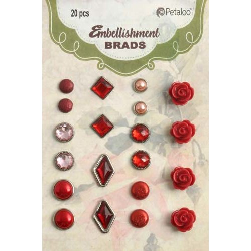 Petaloo - Flora Doodles Collection - Brads - Red