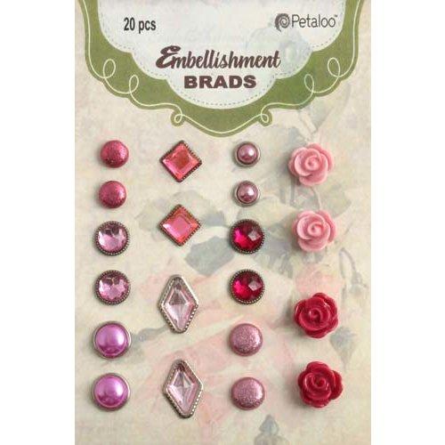 Petaloo - Flora Doodles Collection - Brads - Pink