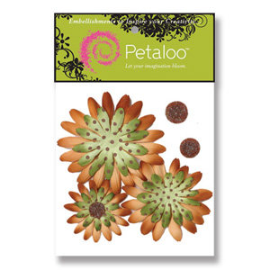 Petaloo - Retro Rage Collection - Flowers - Double Delight Peel and Stick - 3 Flowers - Avocado With Brown Dots
