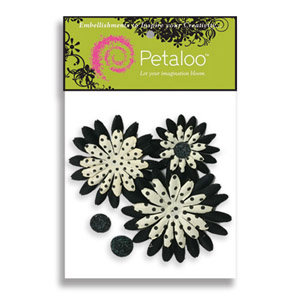 Petaloo - Pink Poodle Collection - Flowers - Double Delight Peel and Stick - 3 Flowers - White With Black Dots