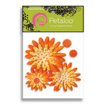 Petaloo - Tutti Fruitti Collection - Flowers - Double Delight Peel and Stick - 3 Flowers - Yellow With Orange Dots, CLEARANCE