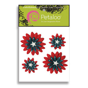 Petaloo - Red White and Blue Collection - Flowers - Double Delights Peel and Stick - 4 Flowers - Blue With White Stars, CLEARANCE