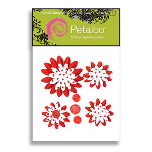 Petaloo - Red White and Blue Collection - Flowers - Double Delights Peel and Stick - 4 Flowers - Red With Dots, CLEARANCE