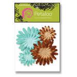Petaloo - Sunken Treasure Collection - Flowers - Double Delight Peel and Stick - 4 Flowers - Teal an