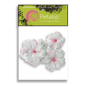 Petaloo - Pink Poodle Collection - Flowers - Peony Peel and Stick - 3 Flowers - White