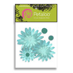 Petaloo - Sunken Treasure Collection - Flowers - Layered Daisies With Glitter Peel and Stick - 3 Flowers - Aqua, CLEARANCE