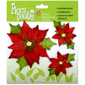 Petaloo - Flora Doodles Collection - Handmade Flowers - Poinsettias - Red