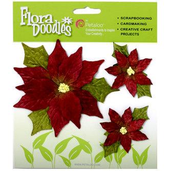 Petaloo - Flora Doodles Collection - Handmade Flowers - Poinsettias - Burgandy, CLEARANCE
