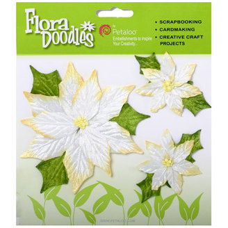 Petaloo - Flora Doodles Collection - Handmade Flowers - Poinsettias - White, CLEARANCE