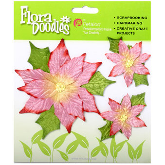 Petaloo - Flora Doodles Collection - Handmade Flowers - Poinsettias - Pink, CLEARANCE