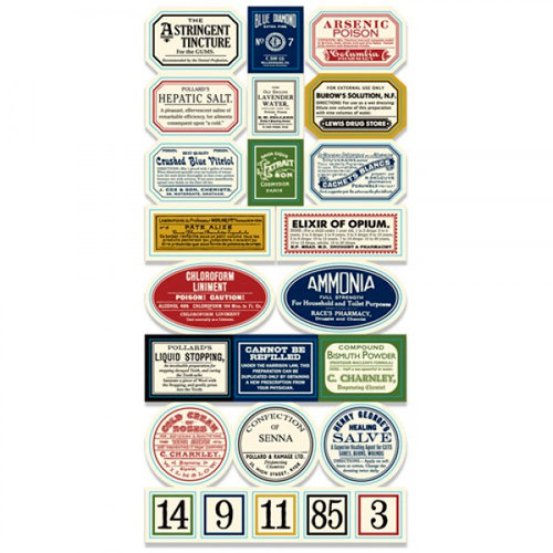 7 Gypsies - Apothecary Collection - 97% Complete Label Stickers - Vintage