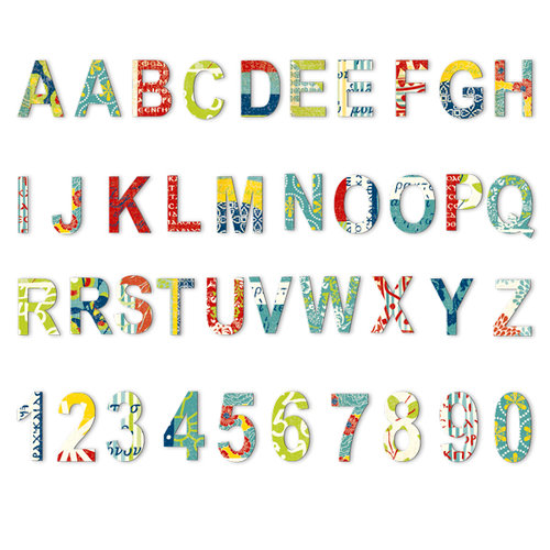 7 Gypsies - Mykonos Collection - Chipboard Pieces - Alphabet and Numbers