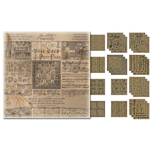 Tim Holtz - Idea-ology Collection - Christmas - 12 x 12 Paper Stash - Kraft Resist
