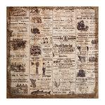 Tim Holtz - District Market Collection - Idea-ology - 12 x 12 Burlap Canvas Panel - Adverts