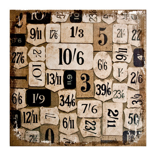 Tim Holtz - District Market Collection - Idea-ology - 12 x 12 Burlap Canvas Panel - Numeric