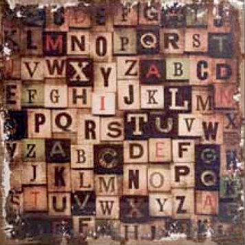 Tim Holtz - District Market Collection - Idea-ology - 12 x 12 Burlap Canvas Panel - Alphabetical