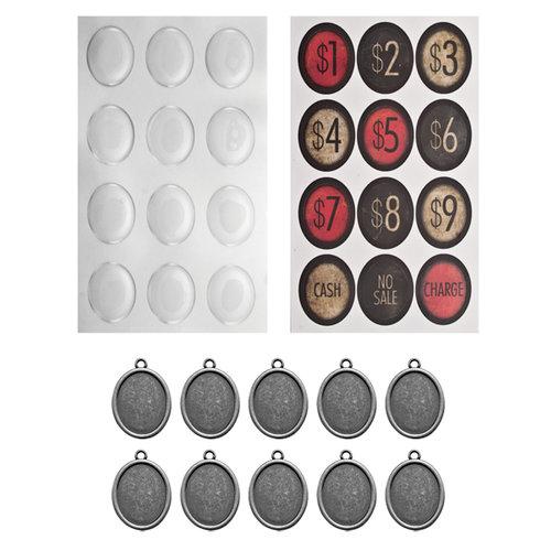 Tim Holtz - Idea-ology Collection - Oval Charms - Cash Keys