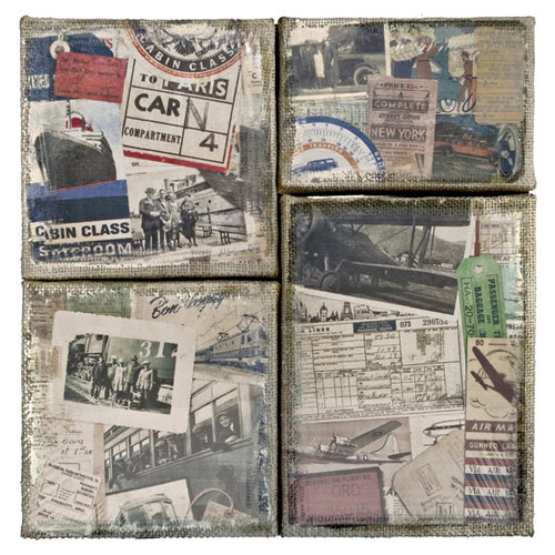 Tim Holtz - District Market Collection - Idea-ology - Burlap Canvas Panels - Destinations