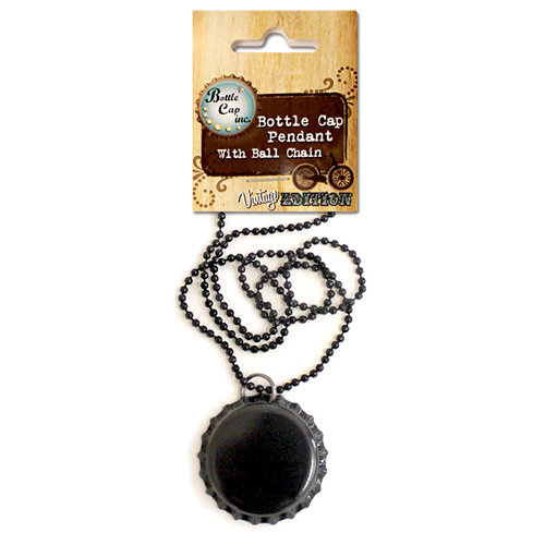 Bottle Cap Inc - Vintage Edition Collection - Jewelry - Bottle Cap Pendant on Ball Chain - Black