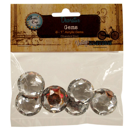 Bottle Cap  Inc - Vintage Edition Collection - Acrylic Gems - Crystal - 1 Inch