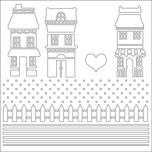 Ranger Ink - Studio by Claudine Hellmuth - 6 x 6 Stencil - Our Town
