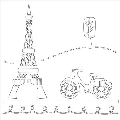 Ranger Ink - Studio by Claudine Hellmuth - 6 x 6 Stencil - Paris Holiday