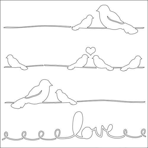 Ranger Ink - Studio by Claudine Hellmuth - 6 x 6 Stencil - Love Birds