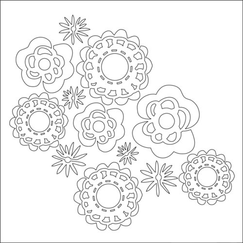 Ranger Ink - Studio by Claudine Hellmuth - 6 x 6 Stencil - Wall Flowers