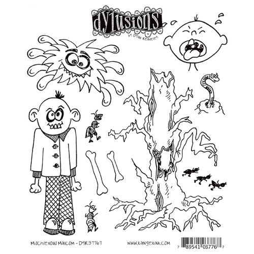 Ranger Ink - Dylusions Stamps - Unmounted Rubber Stamps - Mischievous Malcolm