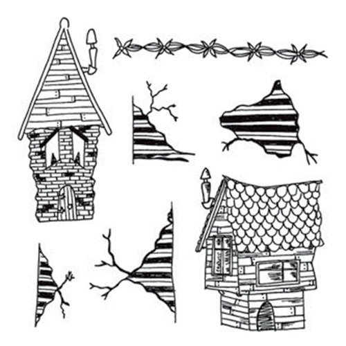 Ranger Ink - Dylusions Stamps - Unmounted Rubber Stamps - This Old House