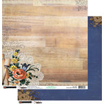 Donna Salazar - Kiss The Cook Collection - 12 x 12 Double Sided Paper - Butcher Block and Blossoms, CLEARANCE