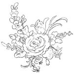 Donna Salazar - Kiss The Cook Collection - Cling Mounted Rubber Stamp - Cake Box Flowers, CLEARANCE