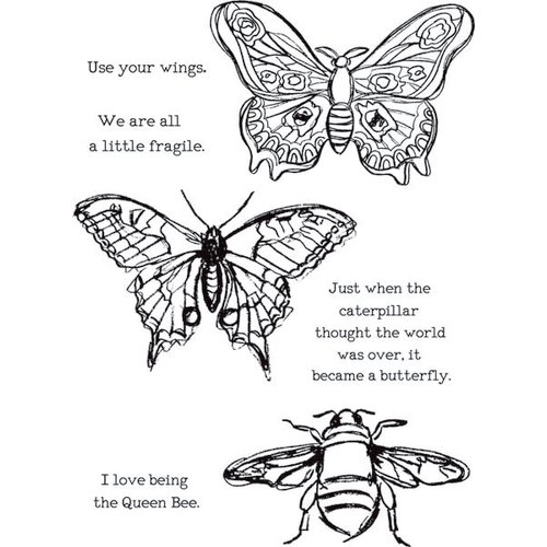 Ranger Ink - Dina Wakley Media - Unmounted Rubber Stamps - Scribbly Insects