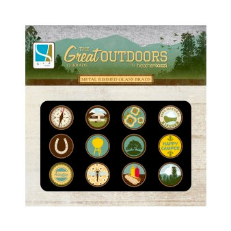 GCD Studios - The Great Outdoors Collection - Metal Rimmed Glass Brads