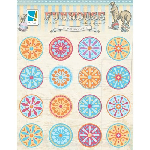 GCD Studios - Funhouse Collection - Chipboard Stickers with Gem Accents - Wheels