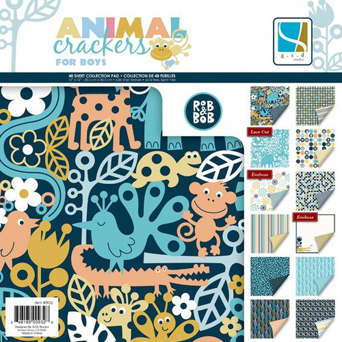 GCD Studios - Animal Crackers for Boys Collection - 12 x 12 Paper Pad