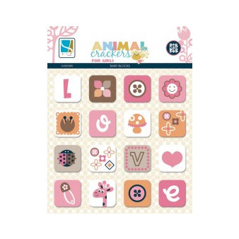 GCD Studios - Animal Crackers for Girls Collection - Chipboard Stickers - Blocks